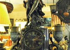 French Rouge Marble and Bronze statuette Mantle Clock 1880's.