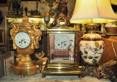 French Mantle Clock, Royal Doulton Parlor Lamp