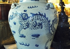 Chinese Provincial Blue and White covered urn